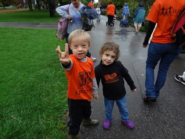 Kids with Down syndrome at the walk event